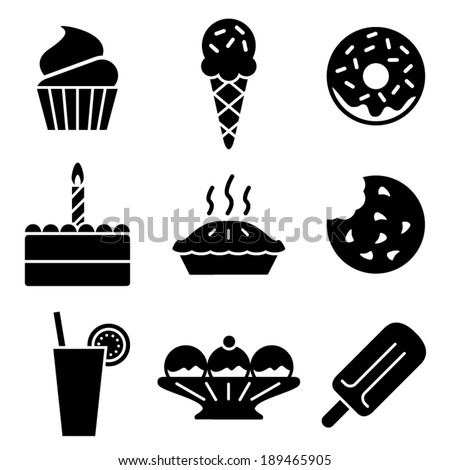 Simple black and white vector dessert icons - stock vector