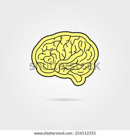 simple black and yellow brain. concept of thinking, artwork, success, brainstorming, nervous, psychology, cerebral. isolated on grey background. flat style modern logotype design vector illustration - stock vector