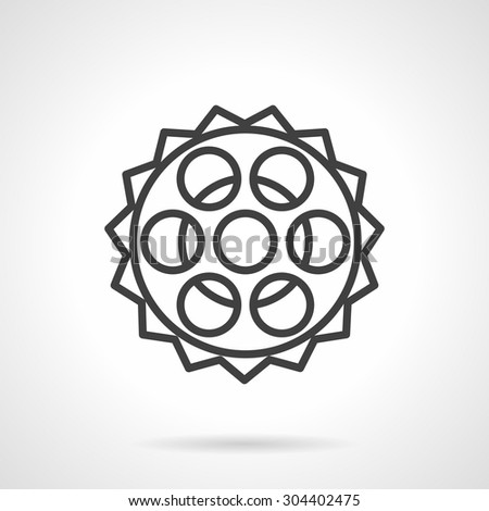 Simple black line vector icon for bike chain sprocket or gear wheel. Spare parts, repair service, bike store. Design element for business and website. Element for the logo - stock vector