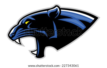 simple black panther head - stock vector