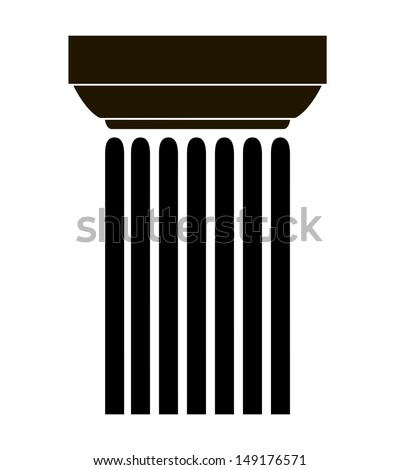 simple black silhouette of the old Greek column. vector illustration - stock vector