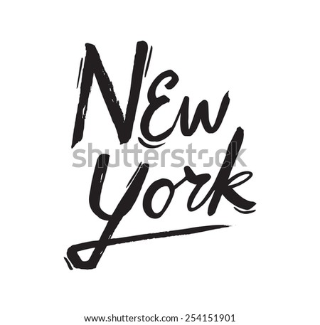 Simple Black Text Design for New York Cit - stock vector