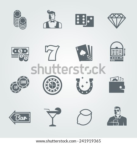 Simple black vector  icons set for web and mobile apps. Quality design illustrations, elements and concept. Gambling icons, casino icons, money icons, poker icons. - stock vector