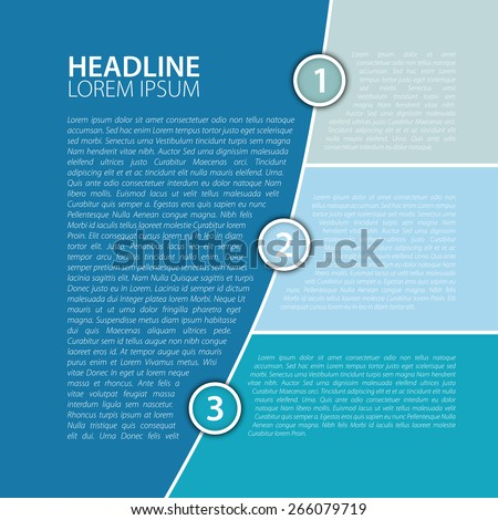 Simple blue business report design template, vector illustration. - stock vector