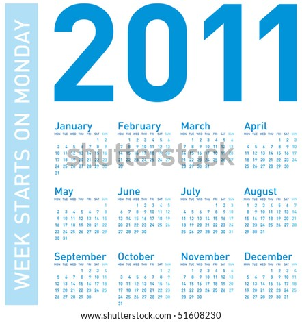Simple Blue Calendar for year 2011, week starts on Monday. - stock vector
