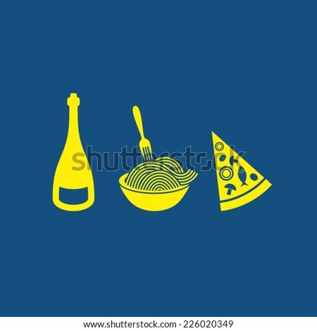 Simple blue card with three italian food symbols - stock vector