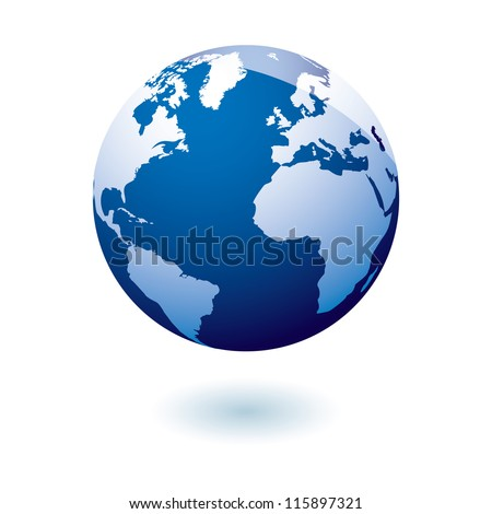 Simple blue earth icon in the modern gel style - stock vector