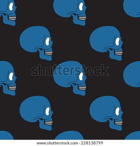 Simple blue human skull seamless pattern, vector background - stock vector