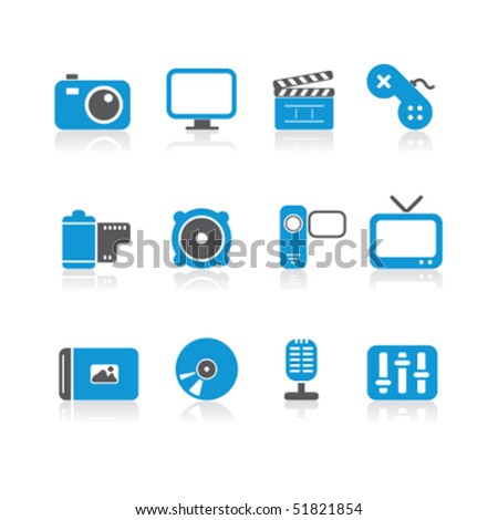 simple blue multimedia icons - stock vector