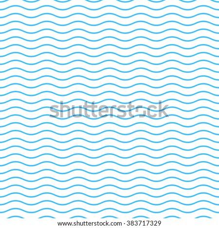 Simple blue seamless wavy line pattern vector illustration - stock vector