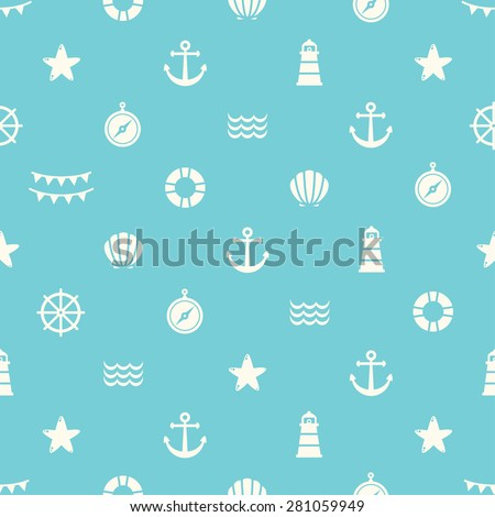 Simple blue vector seamless pattern with flat sea elements. Can be used for wallpapers,  web backgrounds, surface textures. - stock vector