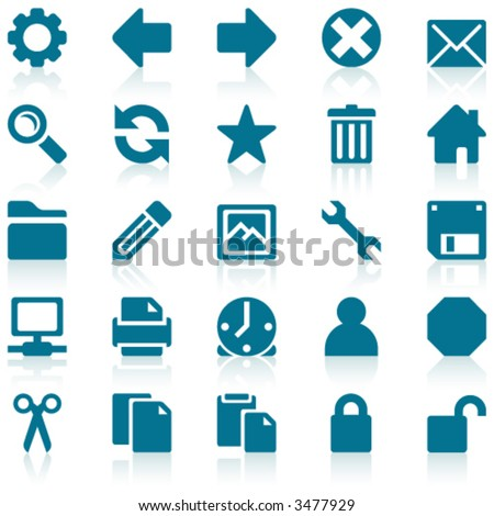 Simple blue web icons with subtle reflections, on white background - stock vector