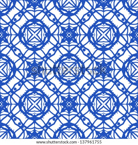 Simple bold geometric ornament in royal blue. Seamless pattern with Mediterranean motifs. Texture for web, print, wallpaper, textile, fabric, wrapping, website or invitation background - stock vector