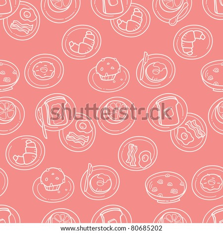 Simple Breakfast Pattern - stock vector