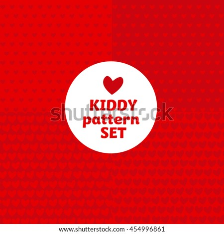 simple bright color pattern motif for kids. vector background with heart shape icon. - stock vector