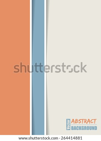 Simple brochure design with orange blue and white stripes - stock vector
