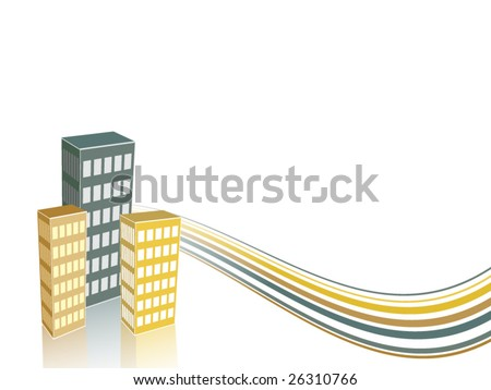 Simple Buildings Wallpaper - stock vector