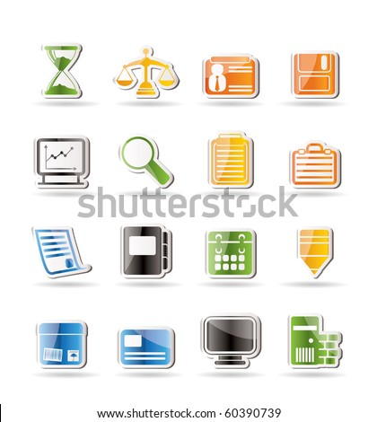 Simple Business and office  Icons  vector icon set - stock vector