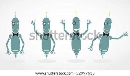 simple business robot characters - stock vector