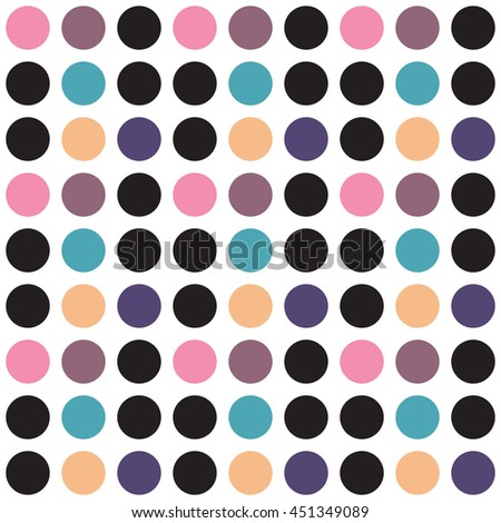 Simple but still unique seamless pattern in polka dot style with a nice retro look. Perfect for women's clothing or wall decoration. Easy to print on fabric or paper. Stock vector background. - stock vector