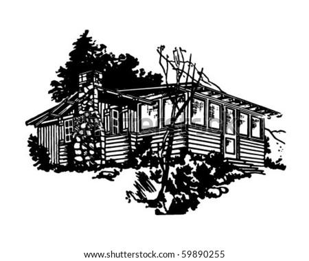 Simple Cabin - Retro Clip Art - stock vector