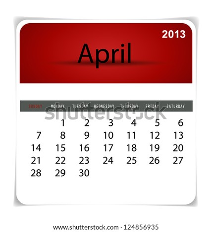 Simple 2013 calendar, April. All elements are layered separately in vector file. Easy editable. - stock vector