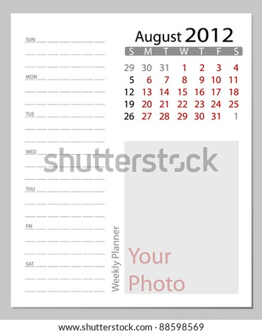 Simple 2012 calendar, August.  All elements are layered separately in vector file. Easy editable. - stock vector