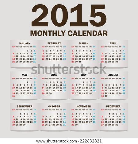 Simple 2015 Calendar / 2015 calendar design / 2015 calendar vertical - week starts with sunday  - stock vector