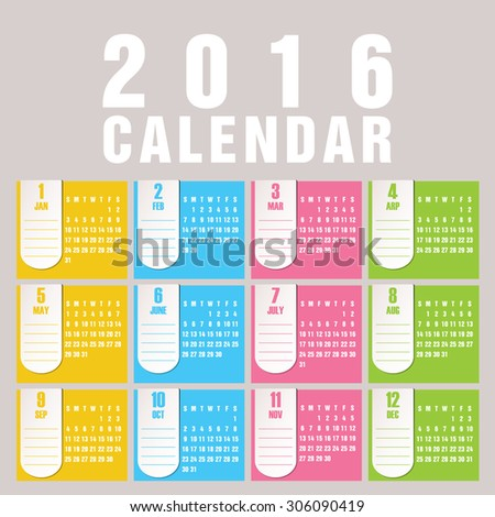 Simple 2016 Calendar / 2016 calendar design / 2016 calendar vertical - week starts with Sunday  - stock vector