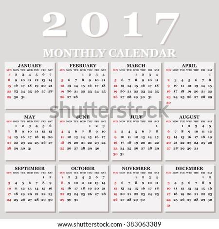 Simple 2017 Calendar / 2017 calendar design / 2017 calendar vertical - week starts with Sunday  - stock vector