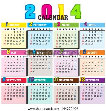 Simple 2014 Calendar / 2014 calendar design - week starts with sunday
