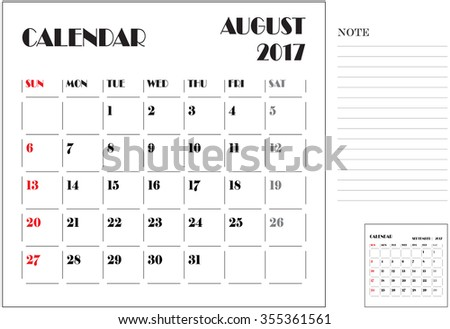 simple 2017 calendar, 2017 calendar paper design, week starts with Sunday, August