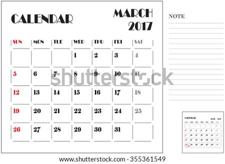 simple 2017 calendar, 2017 calendar paper design, week starts with Sunday, March - stock vector