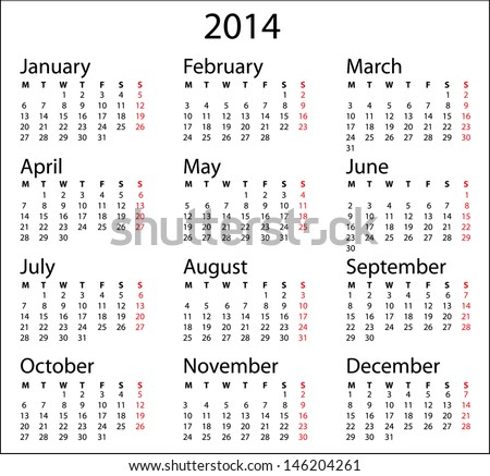 Simple Calendar 2014 Calendar Template On Stock Photo Photo Vector
