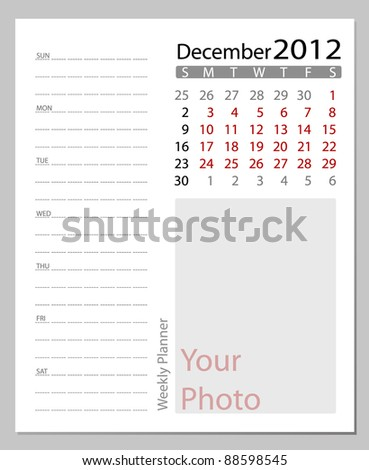 Simple 2012 calendar, December.  All elements are layered separately in vector file. Easy editable. - stock vector