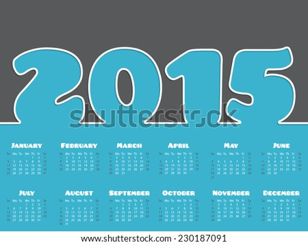 Simple 2015 calendar design in gray and blue with white line - stock vector