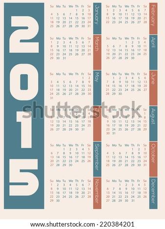 Simple 2015 calendar design on light background - stock vector