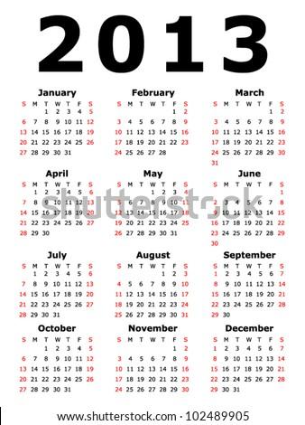 Simple 2013 Calendar (EPS 10) - stock vector