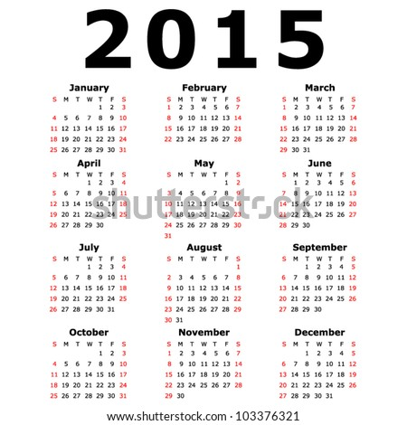 Simple 2015 Calendar (EPS 10) - stock vector