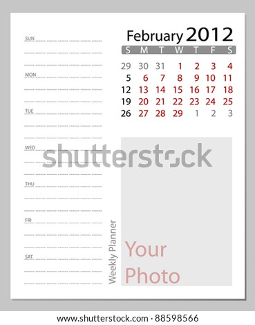 Simple 2012 calendar,  February.  All elements are layered separately in vector file. Easy editable. - stock vector