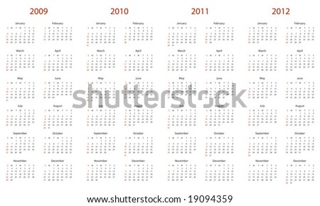 Simple calendar for 2009, 2010, 2011 and 2012. - stock vector