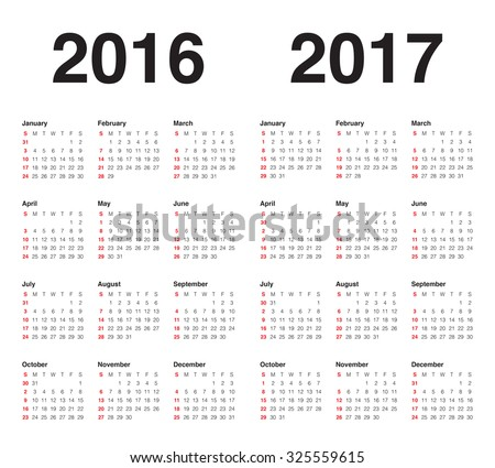 Simple calendar for 2017 and 2017 - stock vector