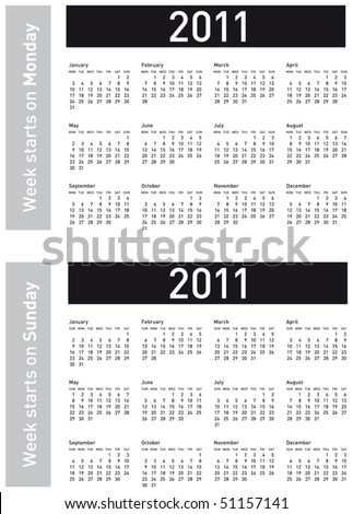 Simple Calendar for 2011. Both versions: week starting on Sunday and Monday, in vectors. - stock vector