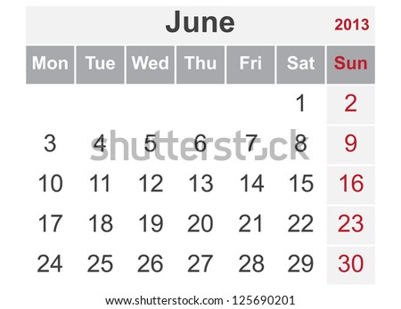 Simple calendar for June 2013 (week starts from Monday) - stock vector