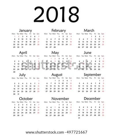 Simple Calendar 2018 Vector Template Design Stock Vector Hd Royalty