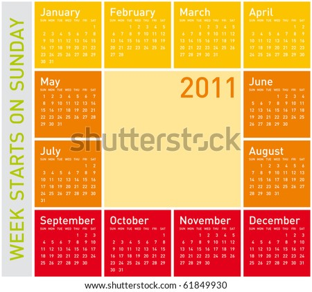 Simple Calendar for Year 2011, in warm colors, week starts on Sunday. - stock vector