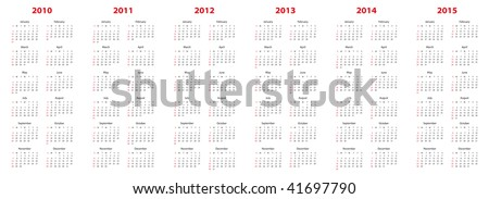 Simple calendar for years 2010, 2011, 2012, 2013, 2014 and 2015. - stock vector