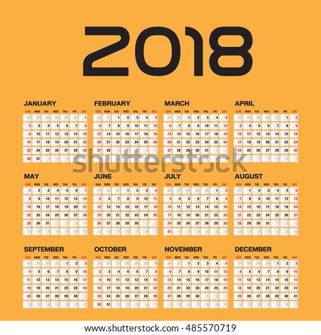 Simple calendar foru 2018 Year, Week Starts Sunday