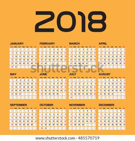 Simple calendar foru 2018 Year, Week Starts Sunday