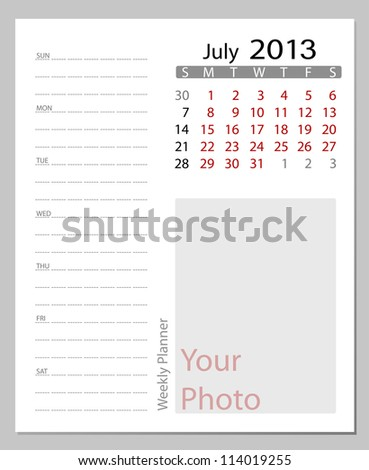 Simple 2013 calendar, July. All elements are layered separately in vector file. Easy editable.